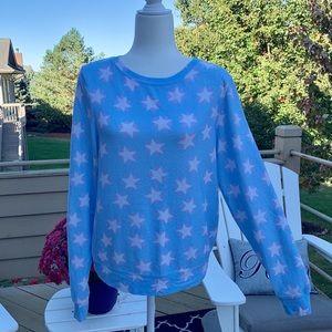 Wildfox Tops - Wildfox Stars & Hearts BBJ Blue Sweatshirt Small